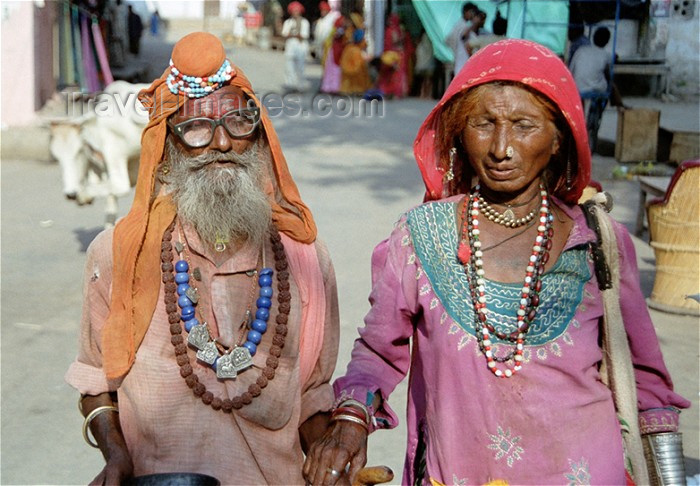 india208: India - Pushkar, Rajasthan: ascetic couple - photo by J.Kaman - (c) Travel-Images.com - Stock Photography agency - Image Bank