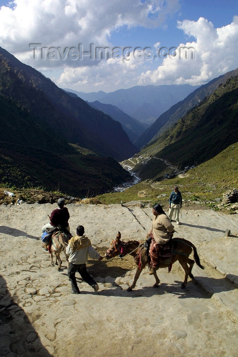 india243: India - Kedarnath (Uttaranchal): Hindu pilgrims on the 14km return journey from Kedarnath (3500m) to Gauri Kund (2000m) (photo by Rod Eime) - (c) Travel-Images.com - Stock Photography agency - Image Bank
