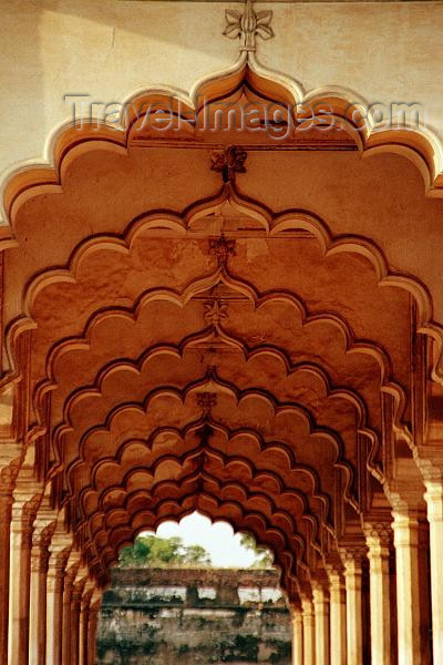 india263: India - Agra: Red fort - inside - arches (photo by J.Kaman) - (c) Travel-Images.com - Stock Photography agency - Image Bank