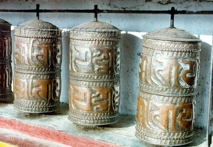 india268: India - Darjeeling (West Bengal): Ghoom Monastery - Yiga Choeling Monastery - Buddhist prayer wheels - photo by J.Kaman - (c) Travel-Images.com - Stock Photography agency - Image Bank