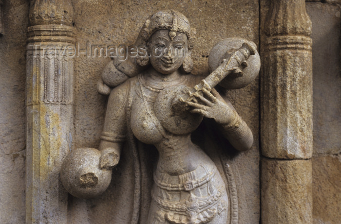 india272: India - Bidar (Karnataka): celestial nymph playing Veena / Vina,  plucked stringed instrument used in Carnatic music - photo by W.Allgöwer - (c) Travel-Images.com - Stock Photography agency - Image Bank