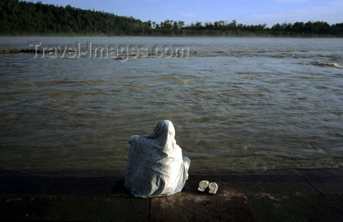 india285: India - Uttaranchal - Rishikesh: a pilgrim meditates by the river Ganges - photo by W.Allgöwer - (c) Travel-Images.com - Stock Photography agency - Image Bank