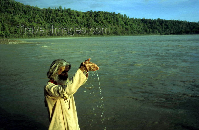 india288: India - Uttaranchal - Rishikesh: pilgrim praying at the Ganges - photo by W.Allgöwer - (c) Travel-Images.com - Stock Photography agency - Image Bank