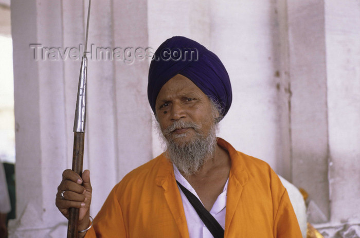 india297: Amritsar (Punjab): guardian with spear at the Golden Temple - Harimandir Sahib or Darbar Sahib - religion - Sikhism - photo by W.Allgöwer - (c) Travel-Images.com - Stock Photography agency - Image Bank