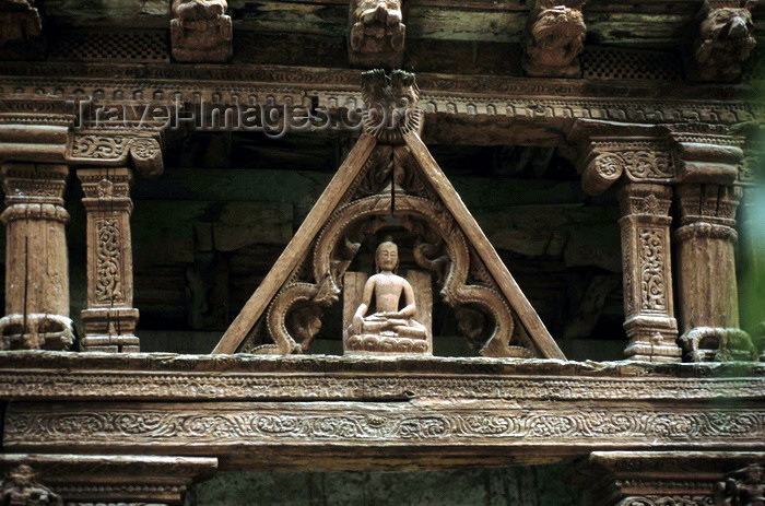 india322: India - Ladakh - Jammu and Kashmir - Sumtsek: sculpted timberwork with a Buddha statue at the monastery's entrance - photo by W.Allgöwer - (c) Travel-Images.com - Stock Photography agency - Image Bank