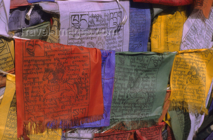 india331: India - Ladakh - Jammu and Kashmir: Lungta-style prayer flags with the Wind Horse bearing the Three Jewels of Buddhism - photo by W.Allgöwer - (c) Travel-Images.com - Stock Photography agency - Image Bank