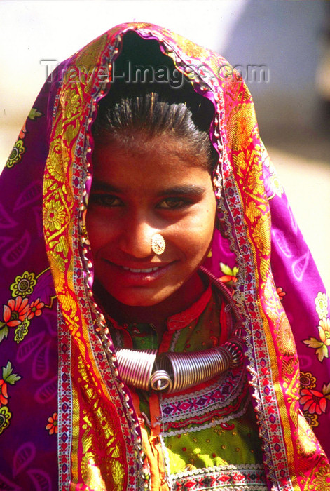 india376: India - Gujarat, India: Harijan girl with pierced nose and typical jewels and clothes - photo by E.Petitalot - (c) Travel-Images.com - Stock Photography agency - Image Bank