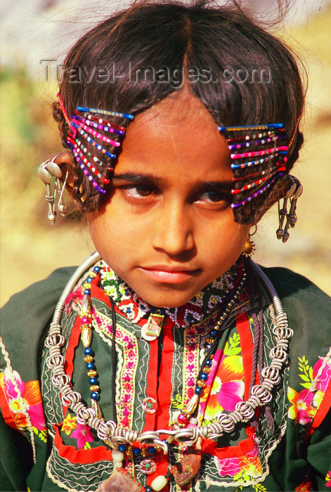 india378: India - Gujarat, India: Harijan girl with her typical jewels and clothes - photo by E.Petitalot - (c) Travel-Images.com - Stock Photography agency - Image Bank