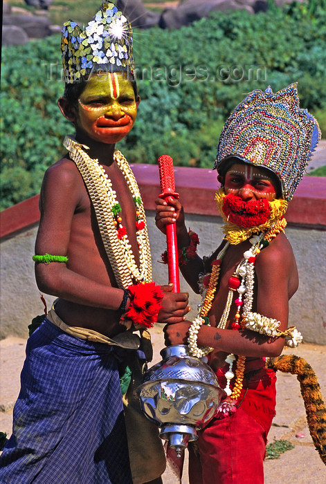 india384: India - Hampi, Karnataka: children are playing the god Hanuman during a festival - photo by E.Petitalot - (c) Travel-Images.com - Stock Photography agency - Image Bank