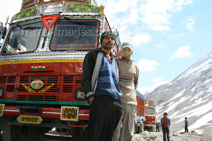india408: India - Manali to Leh highway: truck drivers and their Tatas - photo by M.Wright - (c) Travel-Images.com - Stock Photography agency - Image Bank