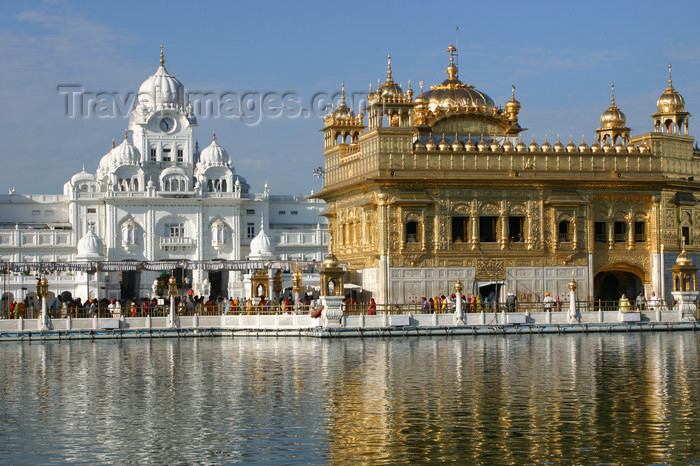 india415: India - Amritsar (Punjab): Golden Temple - the holiest shrine of Sikhism -  Harmandir Sahib - Central Sikh Museum in the background - photo by E.Andersen - (c) Travel-Images.com - Stock Photography agency - Image Bank