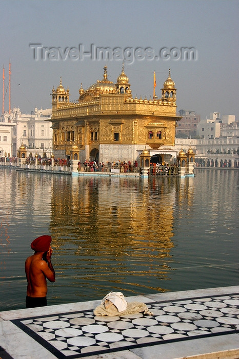 india424: Amritsar, Punjab, India: the Golden temple - Sikh man bathing in the pond - photo by J.Cave - (c) Travel-Images.com - Stock Photography agency - Image Bank