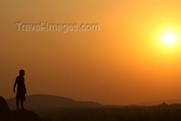 india439: Hampi, Karnataka, India: man silhouette at sunset  - photo by M.Wright - (c) Travel-Images.com - Stock Photography agency - Image Bank