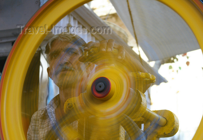 india448: Pushkar, Rajasthan, India: spinning wheel - symbol of India - photo by M.Wright - (c) Travel-Images.com - Stock Photography agency - Image Bank