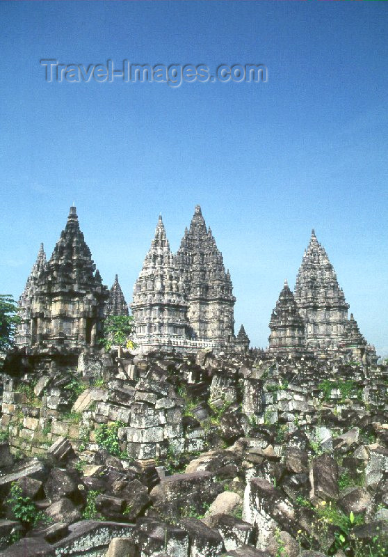 indonesia18: Java - Prambanan, Yogyakarta: the temple and the cliff - photo by M.Sturges - (c) Travel-Images.com - Stock Photography agency - Image Bank