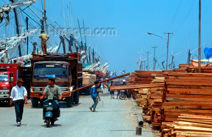 indonesia20: Sunda Kelapa, South Jakarta, Indonesia - timber being unloaded from phinisi boats - old port of Sunda Kelapa - photo by B.Henry - (c) Travel-Images.com - Stock Photography agency - Image Bank