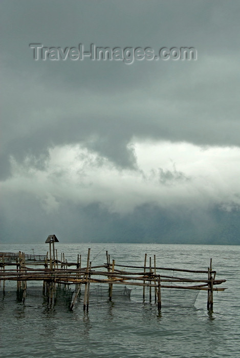indonesia68: Indonesia - West Sumatra: Lake Maninjau - a storm arrives - fishing nets - caldera lake west of Bukittinggi - photo by P.Jolivet - (c) Travel-Images.com - Stock Photography agency - Image Bank