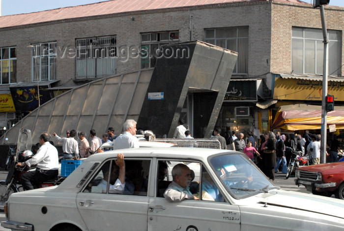 iran110: Iran - Tehran - Paykan in traffic and metro entrance - photo by M.Torres - (c) Travel-Images.com - Stock Photography agency - Image Bank