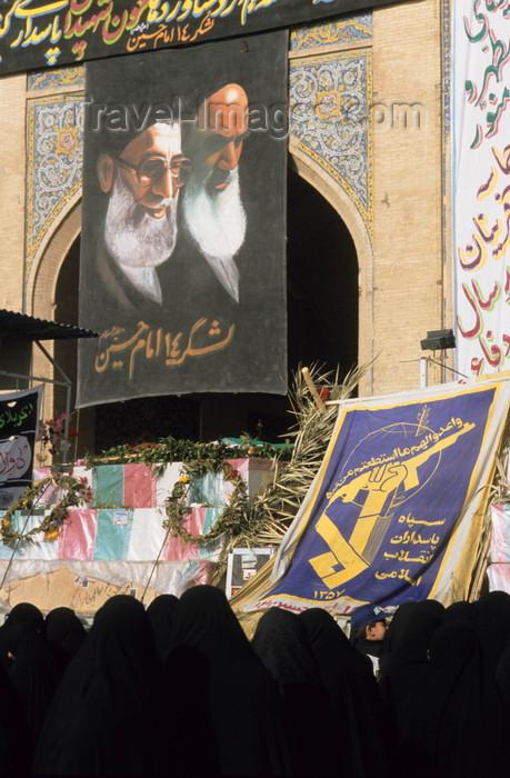 iran145: Iran - Isfahan: Ali Qapu palace - Day of Ashura - women under Grand Ayatollahs Khatami and Khomeini - photo by W.Allgower - (c) Travel-Images.com - Stock Photography agency - Image Bank