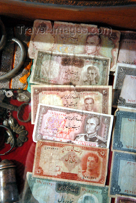 iran192: Iran - Shiraz: Mohammad Reza Pahlavi, Shah of Iran in old Iranian bank notes - shop in the Vakil bazaar - photo by M.Torres - (c) Travel-Images.com - Stock Photography agency - Image Bank