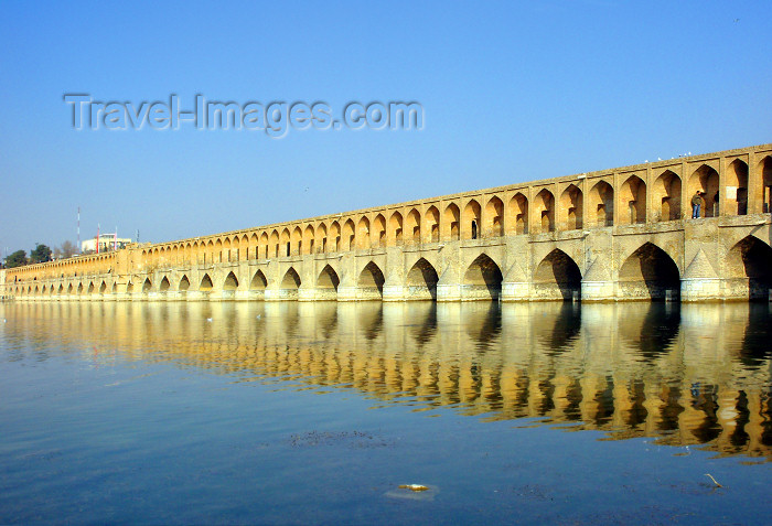 iran21: Isfahan / Esfahan - Iran: Sio-Seh Pol bridge over the Zayandeh River - the Bridge of 33 Arches or Allah-Verdi Khan - Safavid bridge design - commissioned by Shah Abbas I - photo by N.Mahmudova - (c) Travel-Images.com - Stock Photography agency - Image Bank