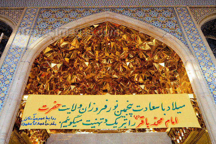 iran246: Iran - Shiraz: Shah-e-Cheragh mausoleum - golden muqarnas over the main gate - photo by M.Torres - (c) Travel-Images.com - Stock Photography agency - Image Bank