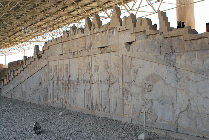 iran304: Iran - Persepolis: Apadana or Audience Hall - eastern stairway - Here Darius I received the tribute from all the nations in the Achaemenid Empire - photo by M.Torres - (c) Travel-Images.com - Stock Photography agency - Image Bank
