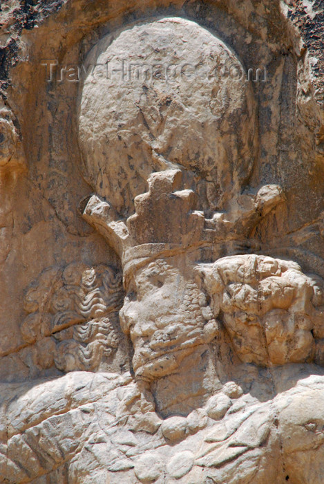 iran328: Iran - Naqsh-e Rustam: triumph relief of Shapur I - the king's face - photo by M.Torres - (c) Travel-Images.com - Stock Photography agency - Image Bank