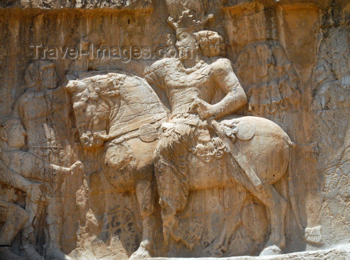 iran340: Iran - Naqsh-e Rustam: triumph relief of Sasanian king Shapur I, near the tomb of Darius I - with defeated Roman emperors Valerian and Philippus the Arab at his feet - photo by M.Torres - (c) Travel-Images.com - Stock Photography agency - Image Bank