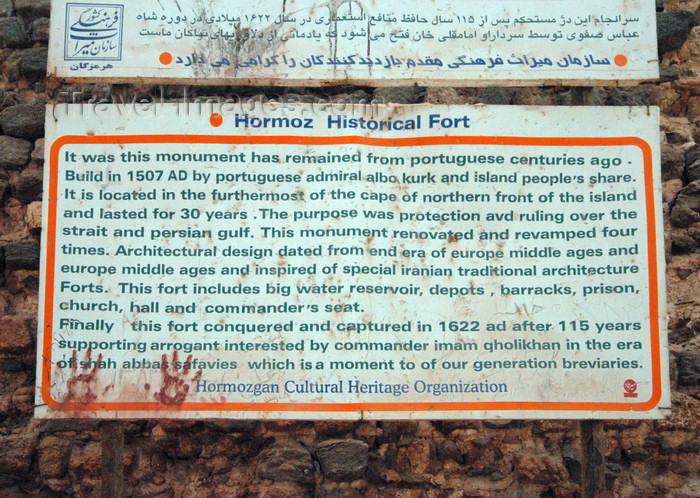 iran354: Iran - Hormuz island: info about the Portuguese castle - Hormozagan Cultural Heritage Organization - photo by M.Torres - (c) Travel-Images.com - Stock Photography agency - Image Bank