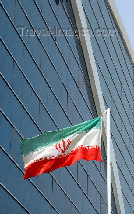 iran385: Iran -  Bandar Abbas: Iranian flag and Setareh e Jonub Business and Recreational Center - photo by M.Torres - (c) Travel-Images.com - Stock Photography agency - Image Bank