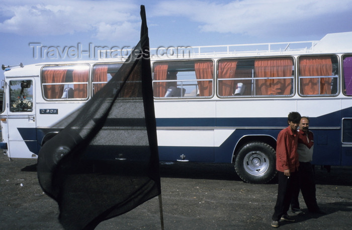 iran409: Iran - Kerman: bus terminal - the black flag of the Shia - photo by W.Allgower - (c) Travel-Images.com - Stock Photography agency - Image Bank