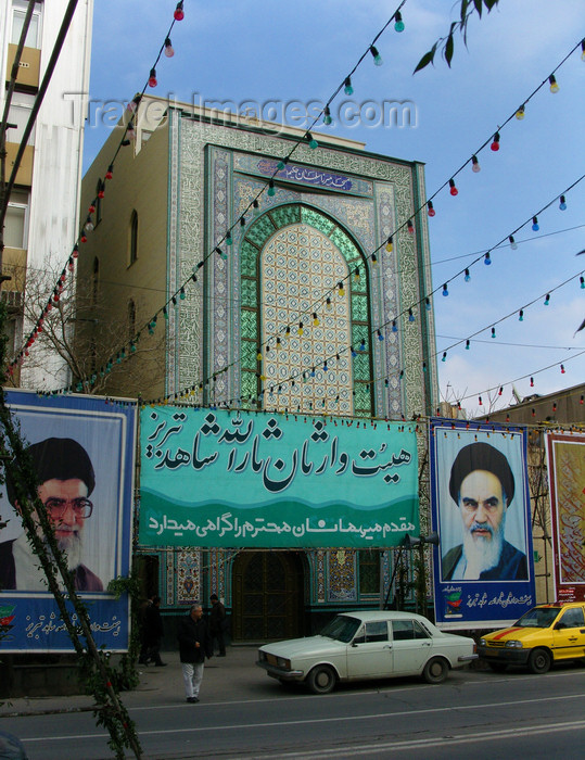 iran44: Tabriz - East Azerbaijan, Iran: tiled façade flanked by Grand Ayatollahs Khamenei and Khomeini - photo by N.Mahmudova - (c) Travel-Images.com - Stock Photography agency - Image Bank