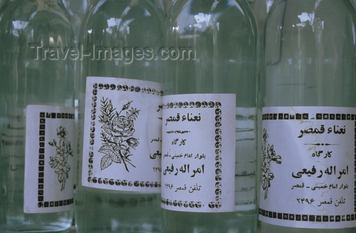 iran447: Iran: bottles of  Golab - rosewater, the hydrosol portion of the distillate of rose petals, a by-product of the production of rose oil - used to flavour food, as a component in cosmetic and medical preparations, and for religious purposes - photo by W.Allgower - (c) Travel-Images.com - Stock Photography agency - Image Bank