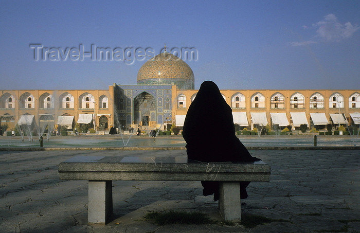 iran49: Iran - Isfahan: woman on a bench in Naghsh-i Jahan Square, looking at Sheikh Lotf Allah Mosque at nigh - photo by W.Allgower - (c) Travel-Images.com - Stock Photography agency - Image Bank