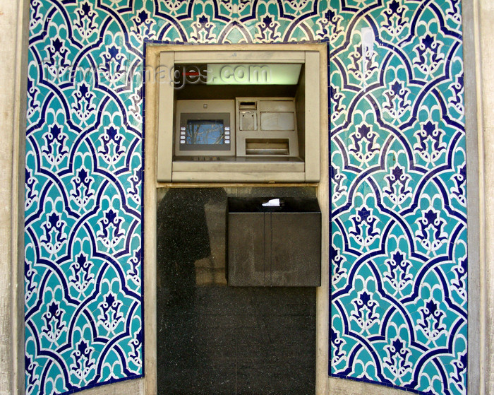 iran532: Isfahan / Esfahan, Iran: cash machine in a mihrab style nice with blue tiles - ATM, a modern qibla - photo by N.Mahmudova - (c) Travel-Images.com - Stock Photography agency - Image Bank