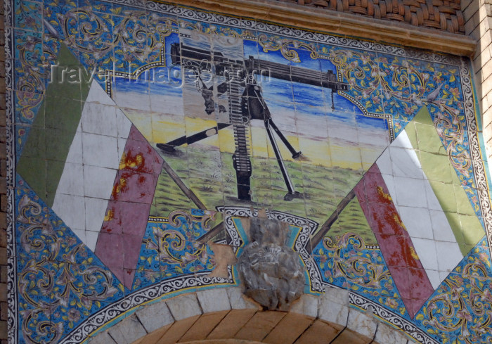 iran70: Iran - Tehran - arch leading to the Ministry of Foreign Affairs - tiles with machinegun - photo by M.Torres - (c) Travel-Images.com - Stock Photography agency - Image Bank