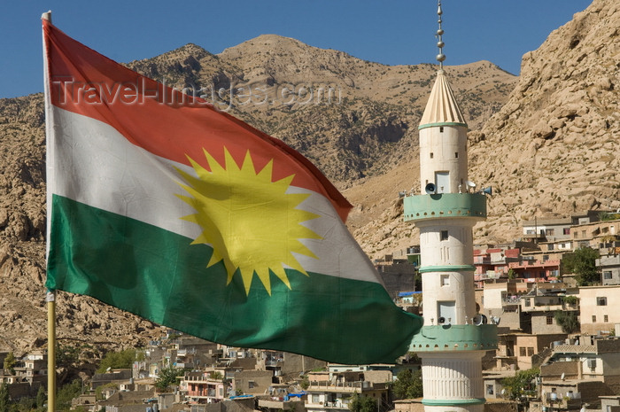 iraq101: Akre / Aqrah, Kurdistan, Iraq: Kurdish flag and minaret - Alay Rengîn - photo by J.Wreford - (c) Travel-Images.com - Stock Photography agency - Image Bank