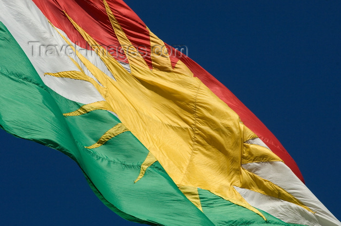 iraq88: Arbil / Erbil / Irbil / Hawler, Kurdistan, Iraq: Kurdish flag, bearing a blazing golden sun emblem - Alay Kurdistan - photo by J.Wreford - (c) Travel-Images.com - Stock Photography agency - Image Bank
