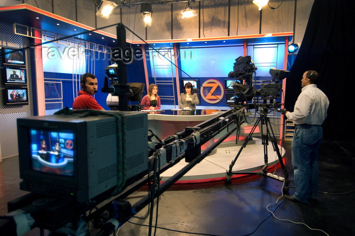 iraq97: Arbil / Erbil / Irbil / Hawler, Kurdistan, Iraq: Zagros TV Studio - behind the camera - the news team - photo by J.Wreford - (c) Travel-Images.com - Stock Photography agency - Image Bank