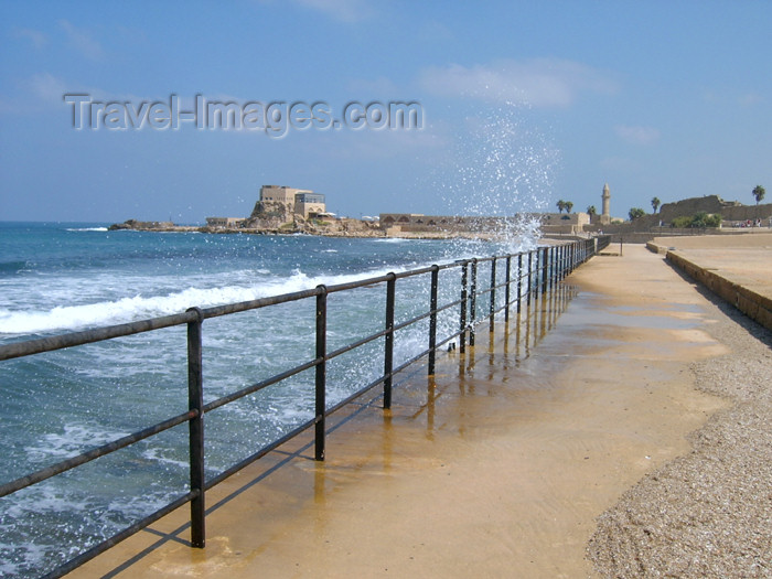 israel130: Israel - Qesarriya / Caesarea Maritima / Caesarea Palaestina: shoreline - railing - Caesarea National Park - photo by Efi Keren - (c) Travel-Images.com - Stock Photography agency - Image Bank