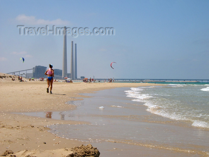 israel133: Israel - Qesarriya / Caesarea Maritima / Caesarea Palaestina - Hadera: Orot Rabin power station and the beach - photo by Efi Keren - (c) Travel-Images.com - Stock Photography agency - Image Bank
