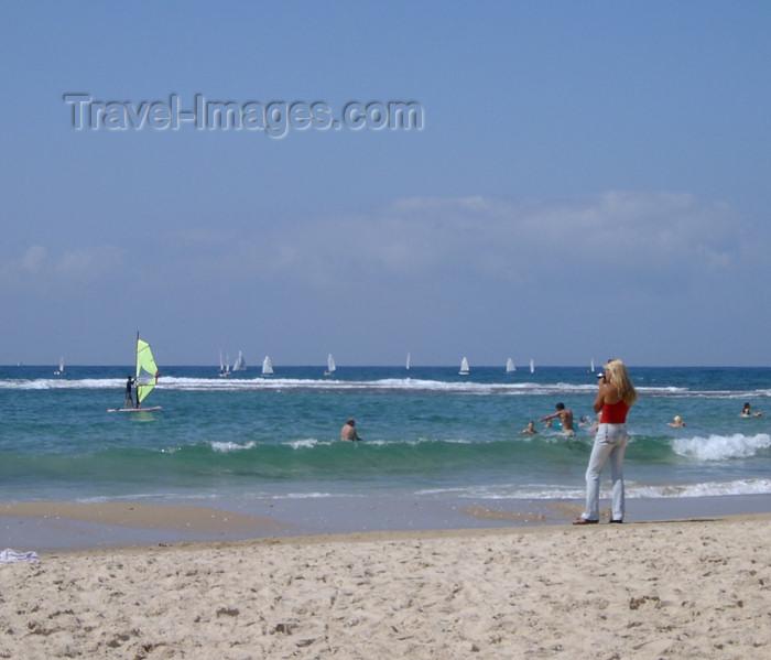 israel152: Israel - Kibbutz Sdot Yam: photographer at work - beach - photo by Efi Keren - (c) Travel-Images.com - Stock Photography agency - Image Bank