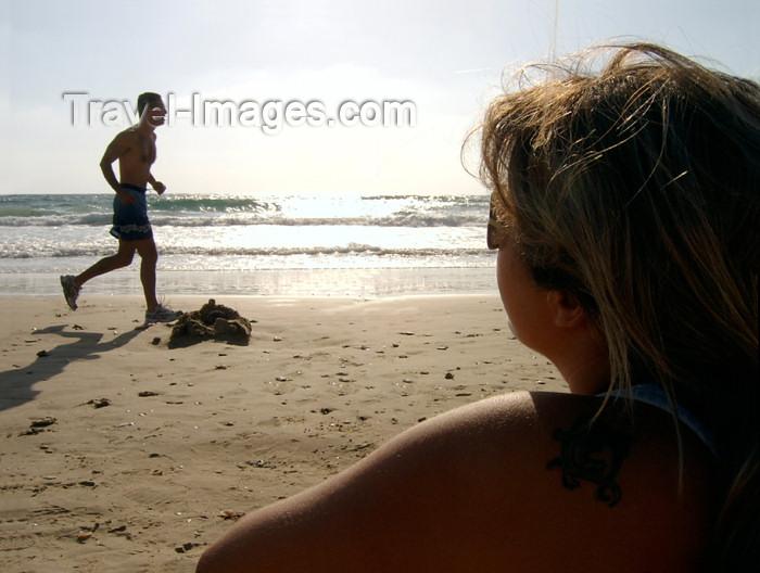 israel153: Israel - Kibbutz Sdot Yam: jogging - beach at dusk - photo by Efi Keren - (c) Travel-Images.com - Stock Photography agency - Image Bank