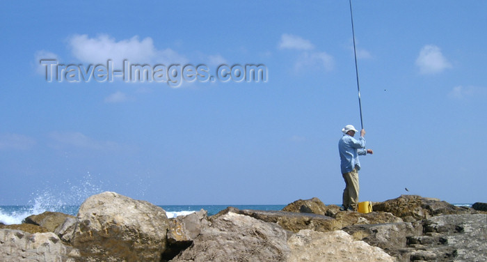 israel155: Israel - Kibbutz Sdot Yam: angler - photo by Efi Keren - (c) Travel-Images.com - Stock Photography agency - Image Bank