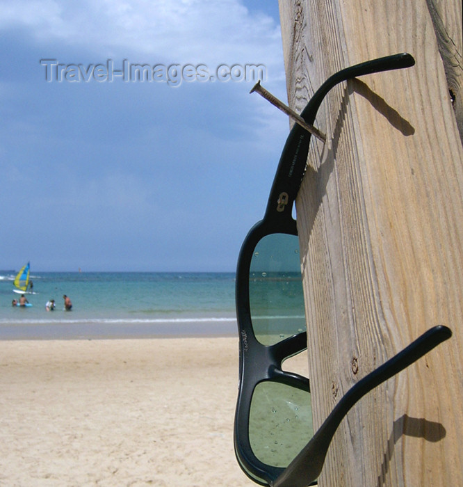 israel156: Israel - Kibbutz Sdot Yam: glasses on nail - beach - photo by Efi Keren - (c) Travel-Images.com - Stock Photography agency - Image Bank