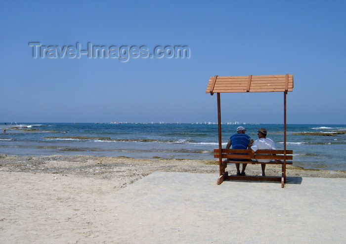 israel164: Israel - Kibbutz Sdot Yam: bench on the beach - mediterranean life - photo by Efi Keren - (c) Travel-Images.com - Stock Photography agency - Image Bank