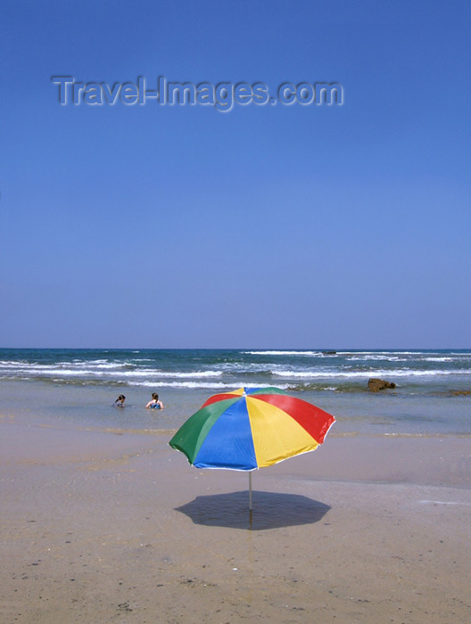 israel168: Israel - Kibbutz Sdot Yam: rainbow umbrella - photo by Efi Keren - (c) Travel-Images.com - Stock Photography agency - Image Bank