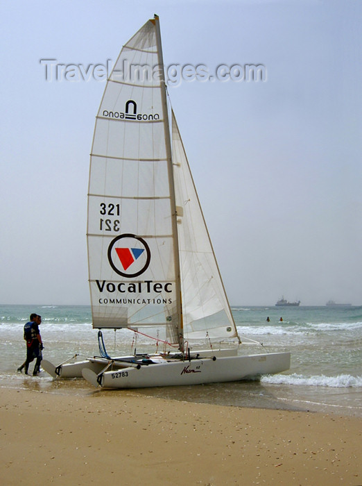 israel170: Israel - Kibbutz Sdot Yam: catamaran - VocalTec - photo by Efi Keren - (c) Travel-Images.com - Stock Photography agency - Image Bank