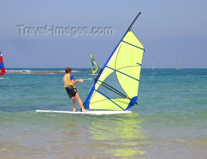 israel177: Israel - Kibbutz Sdot Yam: windsurfer - photo by Efi Keren - (c) Travel-Images.com - Stock Photography agency - Image Bank
